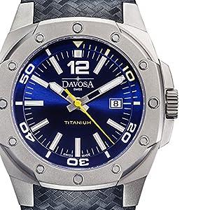 Davosa Swiss Titanium 16156045 Men Wrist Watch Black Leather & Rubber Blue Face
