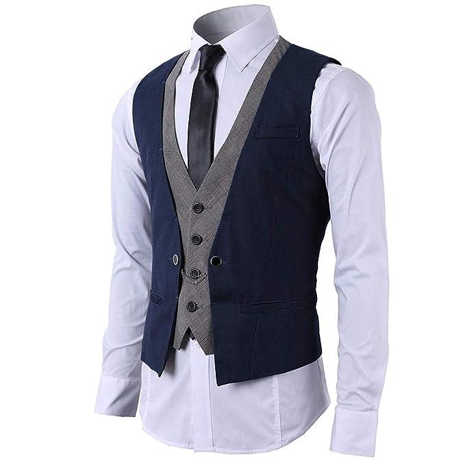 5581765d STTLZMC Hombre Chaleco de Traje Blazers Waistcoat sin Manga 2in1 Formal Boda  Ceremonia: Amazon.es: Ropa y accesorios