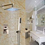 Rozin Brushed Nickel 2-way Mixer Shower Set LED Light 12-inch...