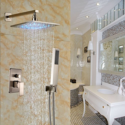 Rozin Brushed Nickel 2-way Mixer Shower Set LED Light 12-inch Rainfall Shower Head with Hand (Led Hand Shower)