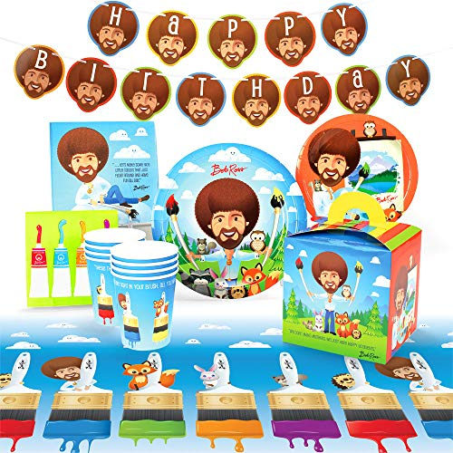 Bob Ross and Friends Party Supplies Set | Art Party Themed Decorations and Recyclable Tableware (Deluxe) Pack