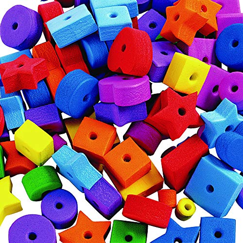 Colorations Jumbo Fun Shapes Foam Beads Multicolor 500 Pieces Latex Free (3/4