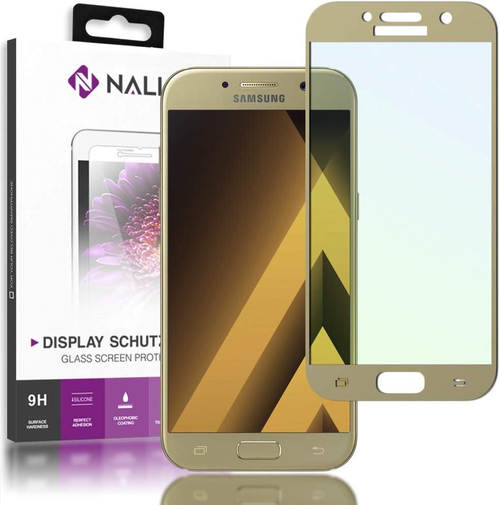 NALIA Cristal Templado Compatible con Samsung Galaxy A3 2017, Vidrio Blindado Película Protectora Display Cobertura, 9H Dureza Film Protector de Pantalla Tempered-Glass, Color:Gold Oro: Amazon.es: Electrónica