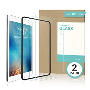 """2 PACK iPad 9.7"""" 6th Generation Screen Protector,EASY INSTALL FRAME Tempered Glass Screen Protector for iPad Pro 9.7/ iPad Pro 9.7 / iPad Air 2 / iPad Air -Apple Pencil Compatible with/HD/Anti-scratch"""