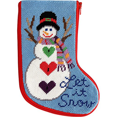 Stitch & Zip Let It Snow Snowman Mini Stocking Needlepoint Kit