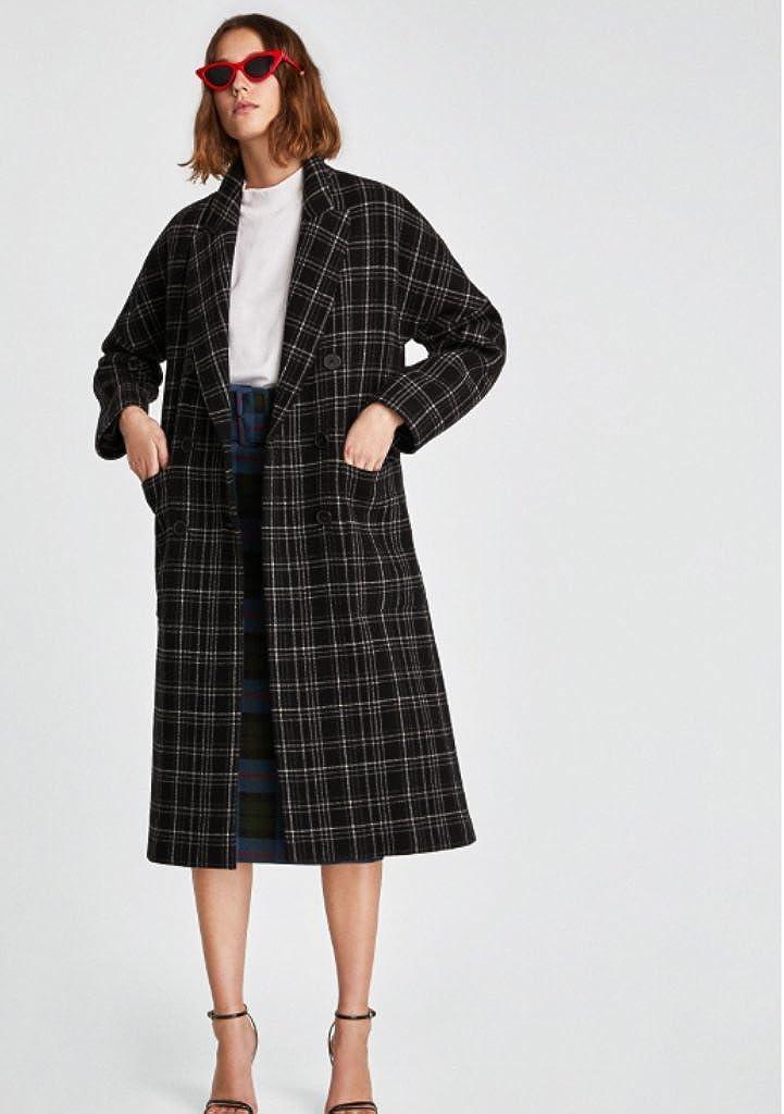 Zara Checked Coat L Black BNWT