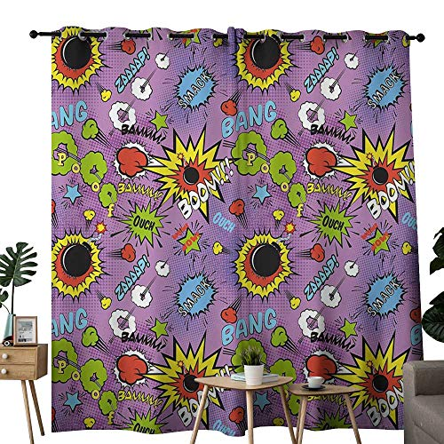 LewisColeridge Customized Curtains Superhero,Comic Bubble Words Burst Ouch BAMM Bang Boom Expression Kids Funny Retro Graphic,Multicolor,Blackout Draperies for Bedroom Living Room 84