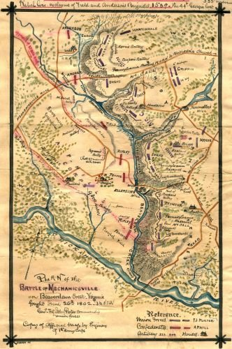 1862 Map Plan of the Battle of Mechanicsville or Beaverdam Creek, Virginia : fought June 26th 1862, 3 to 5 p.m. Shows the area of Hanover County near Beaverdam Creek, oriented with the Chickahominy Ri (Best Day Trips From Richmond Va)