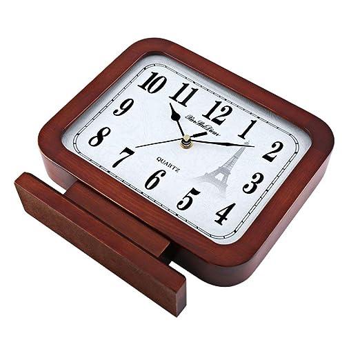 Amazon.com : Family Fireplace Clocks Solid Wood Table Clock, Modern Desk Silent Clock Bedroom Studio Room Decoration ó n Suitable for Living Room Office ...