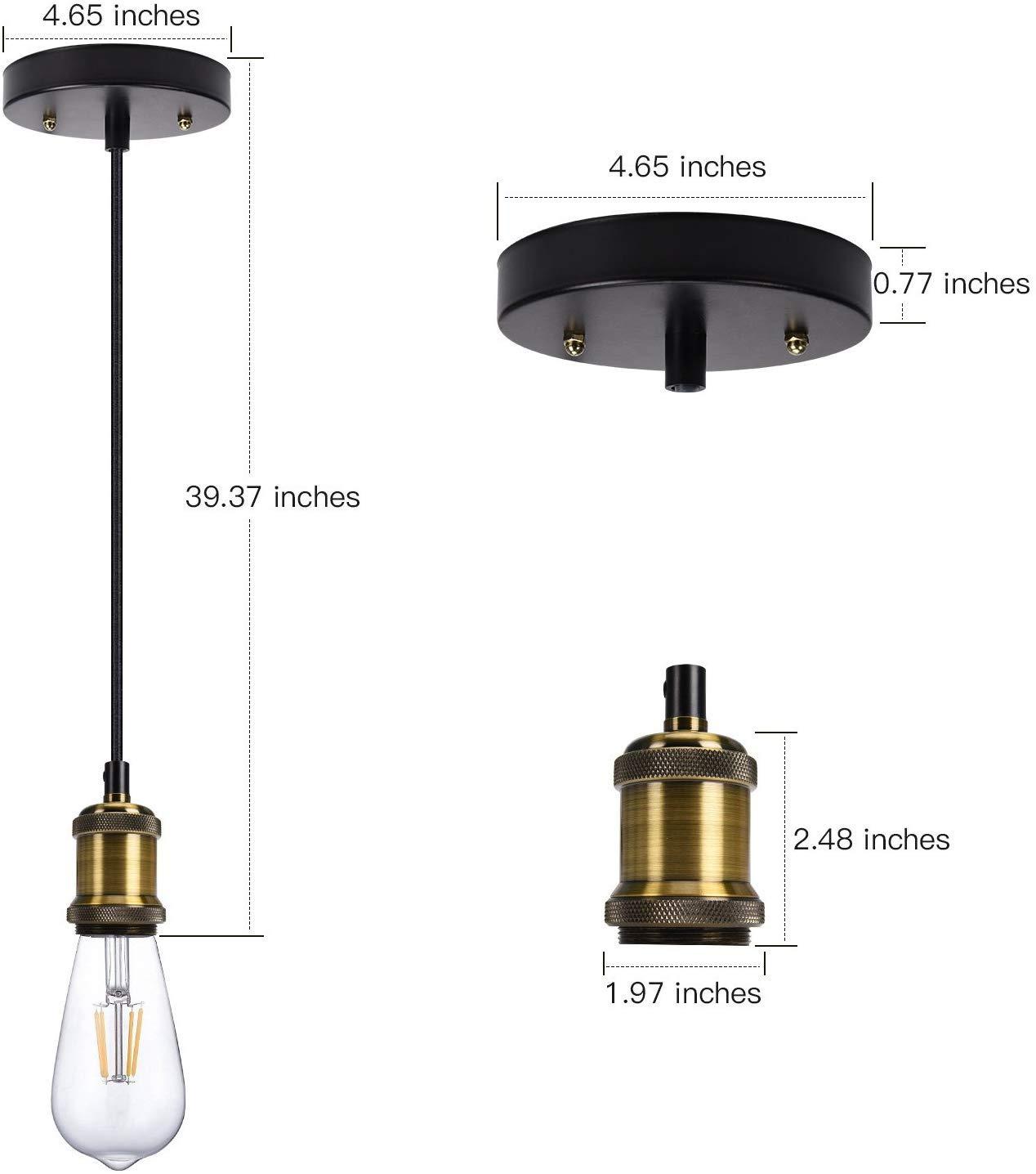 Retro L/ámpara colgante E27 Portal/ámparas Vintage Luz L/ámpara del Techo Luz pendiente con cable ajustable 1.5m para casquillo E27 L/ámpara Negro mate
