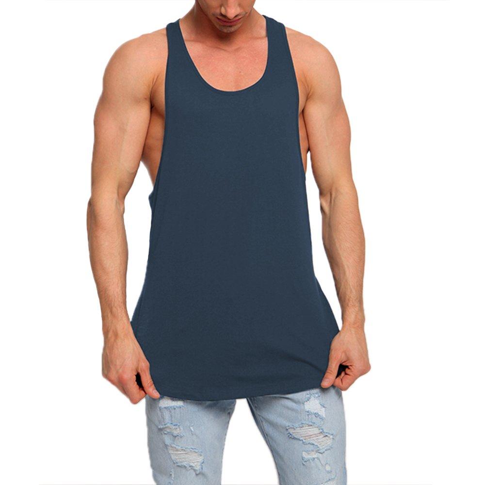 Men's Fashion Super Longline Vest Step Hem Extreme Racer Back Tops Navy Blue M