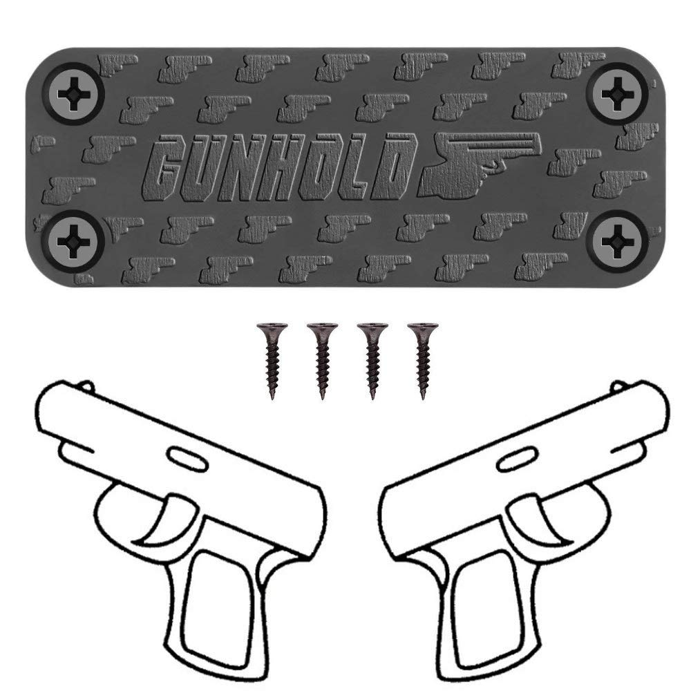 GUNHOLD Gun Magnet - Magnetic Gun Mount & Car Holster - HQ Rubber Coated 43 lbs Firearm Accessories. Install in Your car, Truck, Wall, Vault, Bedside, Doorway, Desk, Table.
