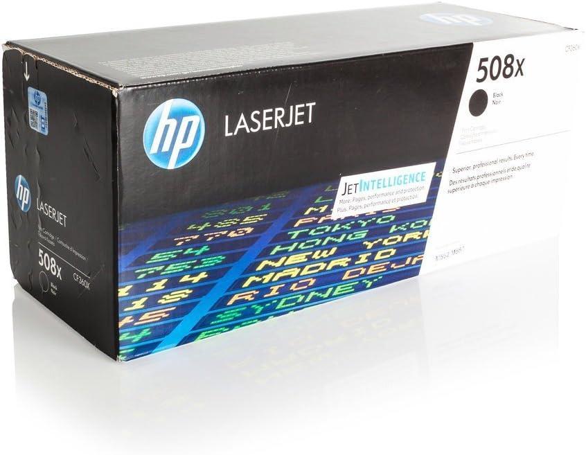 Cartucho original para HP Color LaserJet Enterprise M 552DN HP 508x CF 360x, CF360X–PREMIUM de impresoras cartucho–Negro–12.500páginas