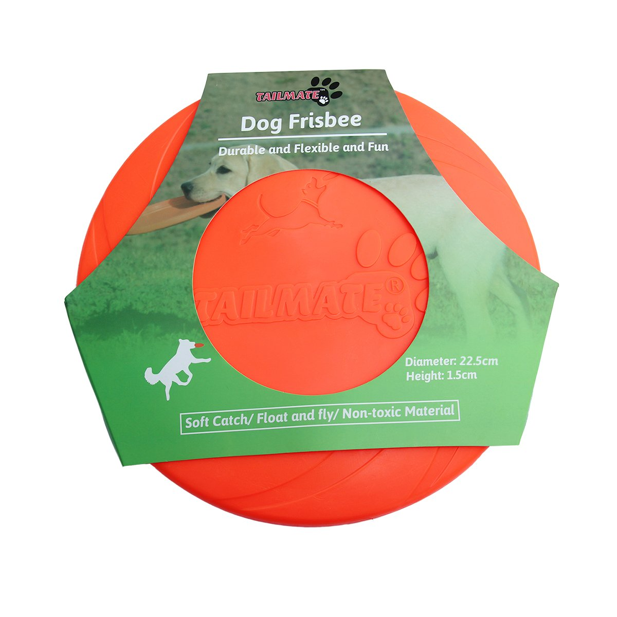 TAILMATE Dog Flying Discs Dog Frisbee Flyer Dog Toy with Non-toxic TPR Material (Frisbee)
