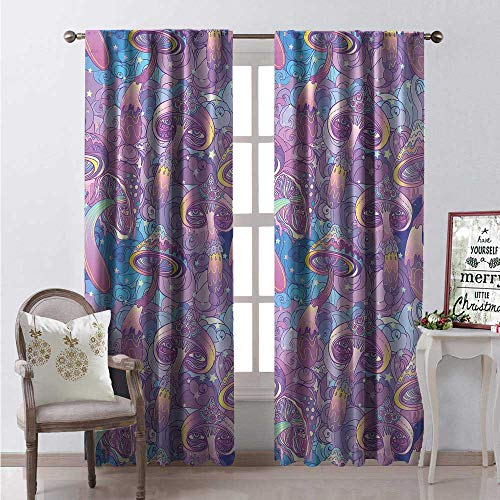 Saratoga Single Light - Hengshu Mushroom Waterproof Window Curtain Magical Fantastic Compositions Trippy Figures Swirls Eyes Dreamlike Decorative Curtains for Living Room W108 x L108 Purple Light Blue Yellow