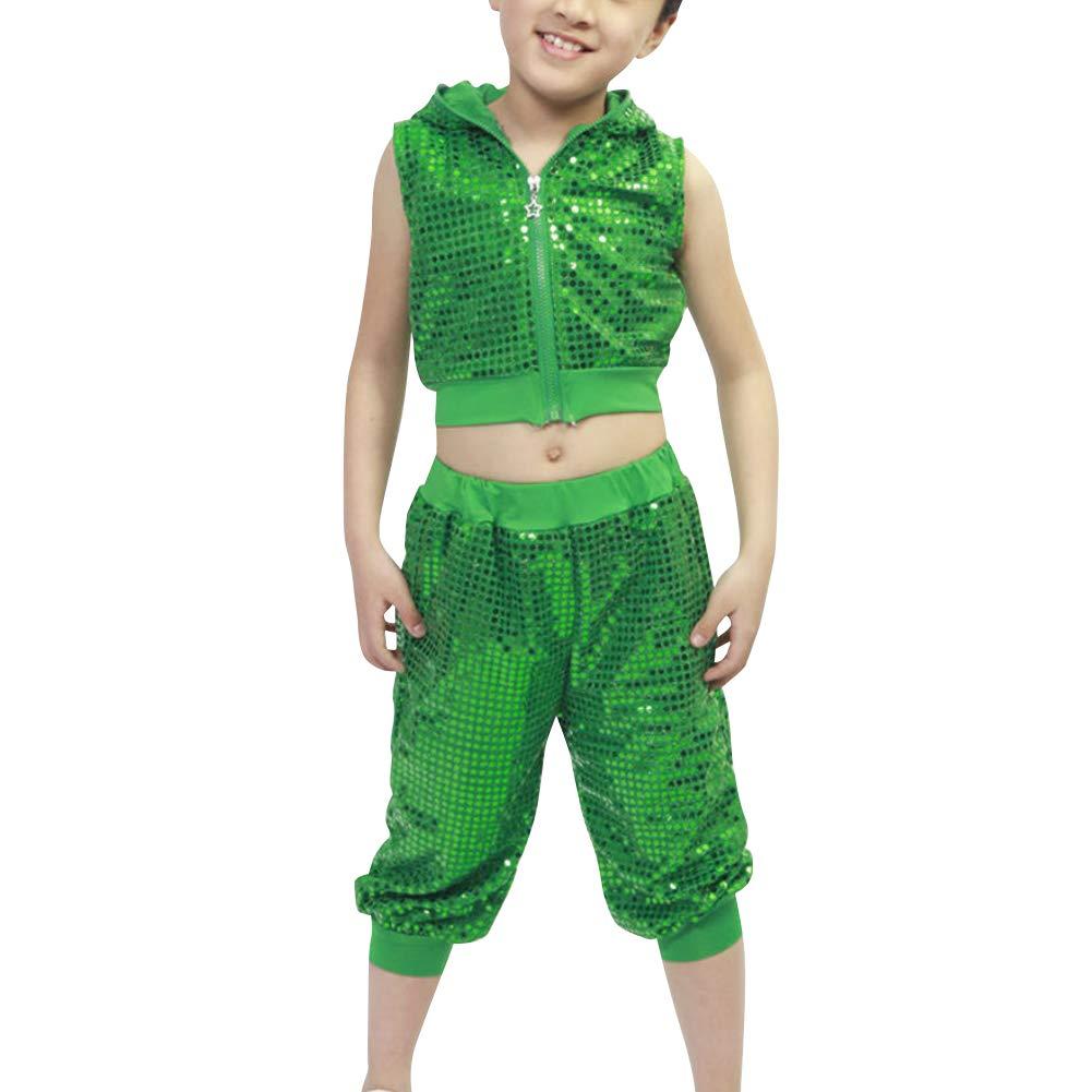 uirend Dance Girls Boys Clothing - Children Sequins Performance Jazz Hip Hop Set Green by uirend