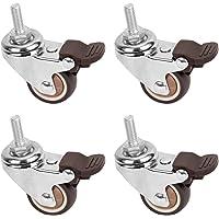 CHENYI Set van 4 zwenkwielen, zwenkwielen van robuust rubber met draadstang voor handwagen, werktafel, meubelwielen (M6…