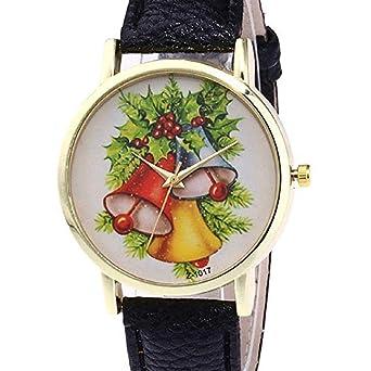 Womens Quartz Watch Liquidación Árbol de Navidad patrón Relojes analógicos Femeninos Relojes de Dama Reloj de Cuero Nuevo (Negro): Amazon.es: Relojes