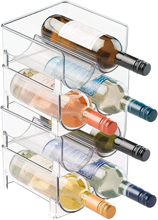 mDesign Juego de 4 botelleros apilables Pr/áctico organizador de nevera para botellas de agua y vino Botelleros dobles para frigor/ífico o vinoteca Pl/ástico transparente libre de BPA