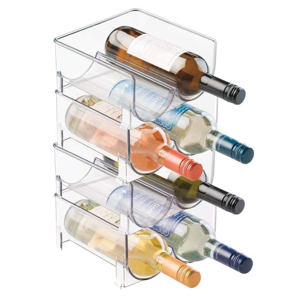 Sans BPA Casier /à bouteille accessoire parfait pour ranger les bouteilles mDesign Rangement bouteille Porte bouteille empilable id/éal pour bouteilles de vin transparent 8 bouteilles de vin