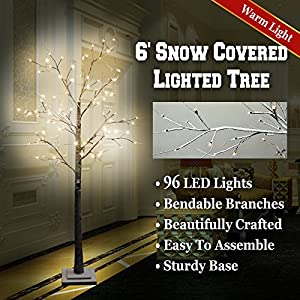BenefitUSA 6' LED Snow Tree Flake Decoration Light Indoor And Outdoor Use, Warm White 10