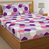 Dreamscape 100% Cotton Double bedsheet with 2 Pillow Covers Set, 144tc Geometric Purple bedsheets for Double Bed Cotton (Size 7.3ft x 8.2ft)