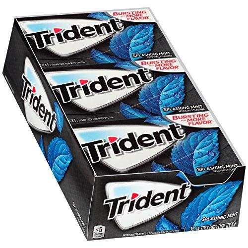 Mint Gum 12 (Trident Sugar Free Gum, Splashing Mint, 14 ct (Pack of 12))