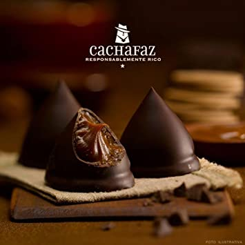 Cones of Black Chocolate filled with dulce de leche x6 units - 2PACKS
