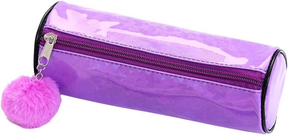 Laser-PU - Estuche escolar para lápices, estuche para maquillaje, con bola para el pelo, para mujeres, niñas, redondo, monocromo: lila: Amazon.es: Hogar