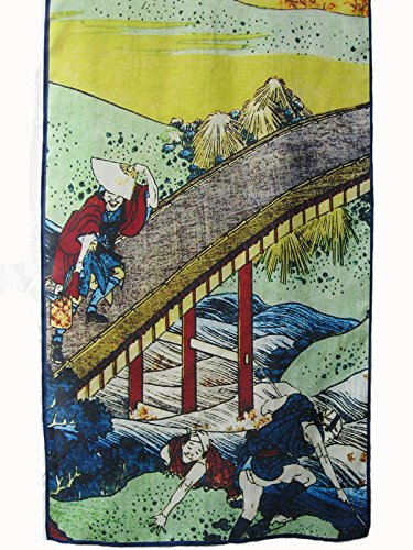 Prettystern P387 - 160cm Gravure sur bois en couleur Foulard de soie de Japon Art - Kitagawa Utamaro - pont japonais