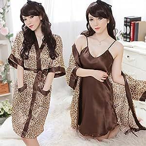 Exotic Leopard Sexy Lingerie Robe Dressing Gown Kimono Exotic Pajamas Sleepwear Set