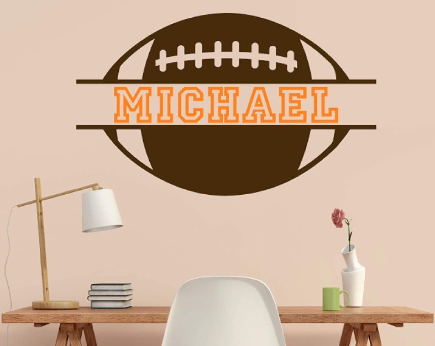 B01FROJGOY Custom Name Added to Football Vinyl Wall Decal Football Theme Personalized Removable Sticker Perfect for Above Bed Sports Room 612B8M4DbrWL