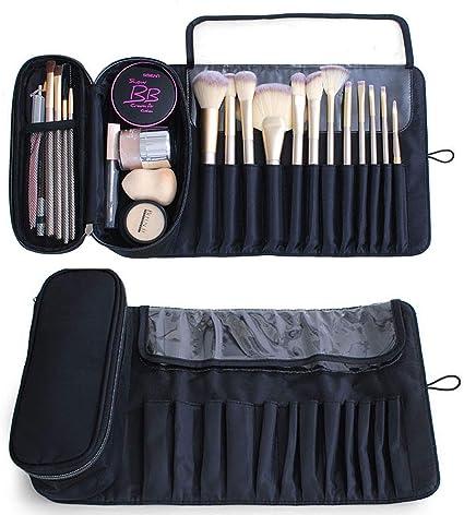 Moricher Organizador de brochas de maquillaje portátil, abre bolsas de almacenamiento planas, estuche cosmético, brochas de maquillaje y bolso de mano: Amazon.es: Belleza
