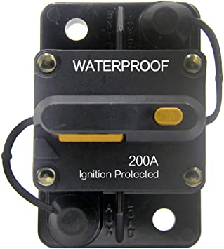ZOOKOTO 12V-42VDC Waterproof 50A-300A Circuit Breaker with Manual Reset Inline Fuse Inverter Fuse holder for Marine Trolling Motors Boat ATV Manual Power(150A)