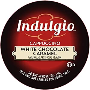 Indulgio Cappuccino, White Chocolate Caramel, 12-Count Single Serve Cup for Keurig K-Cup Brewers