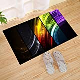 JANNINSE Modern Metal Technology Sense Style Watercolor Romantic Stripe Small Door Mat, Yellow Green Purple White, Non-Slip Rubber Antibacterial Doormat