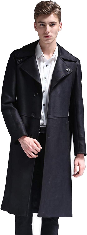 LIXIYU Uomini Trench Lungo Elegante Slim Fit Cappotti Giacche Invernali Trench Affari Intaglio Collare Monopetto Cappotto Nero
