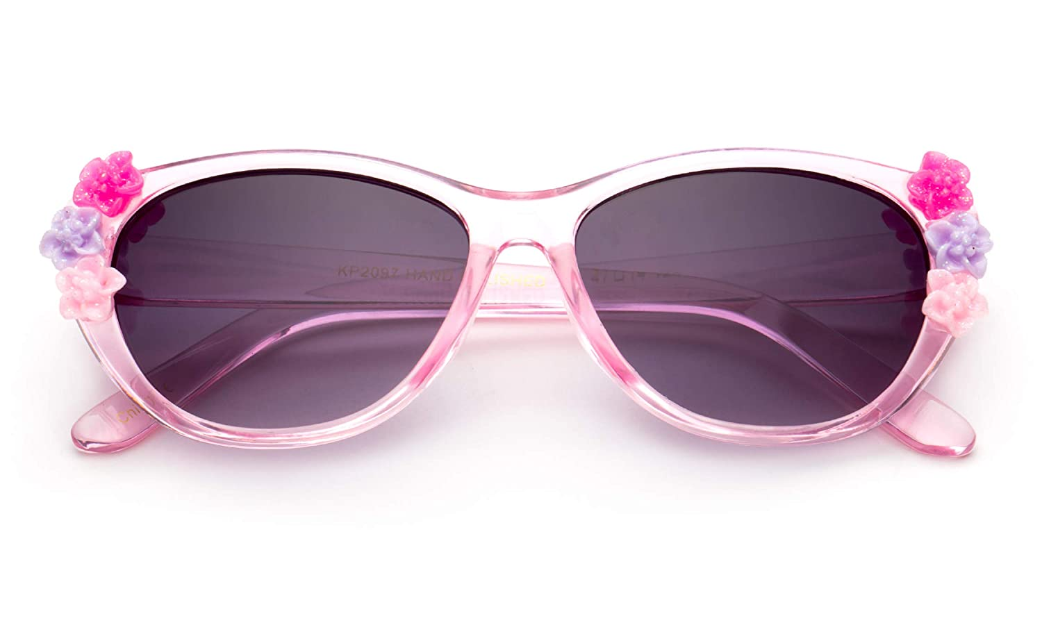 Kids Girls Toddlers Fashion Sunglasses Cateye Cute Sunglasses with Flowers UV Protection w//Pouch Newbee Fashion 0-5 YRS