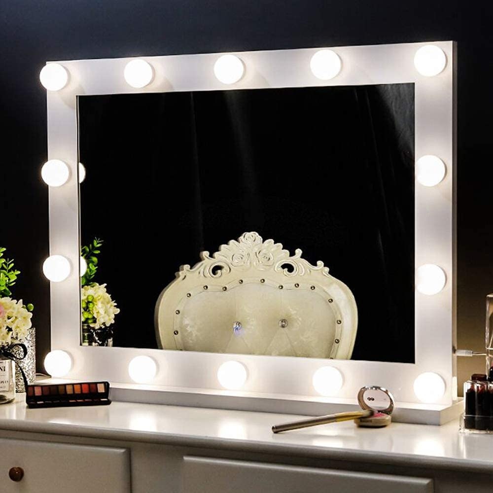 Chende Vanity Mirror with Lights for Wall Mounted, Hollywood Lighted Makeup Mirror with 3-Color Conversions, Smart Control Mirror with 14 Dimmable Bulbs for Bedroom (White)