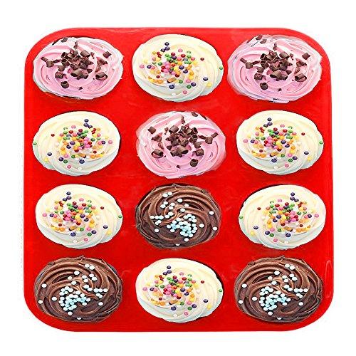 12 Cup Silicone Muffin Pan & Silicone Baking Pan, Nonstick, Dishwasher, Red Bakeware (12)]()