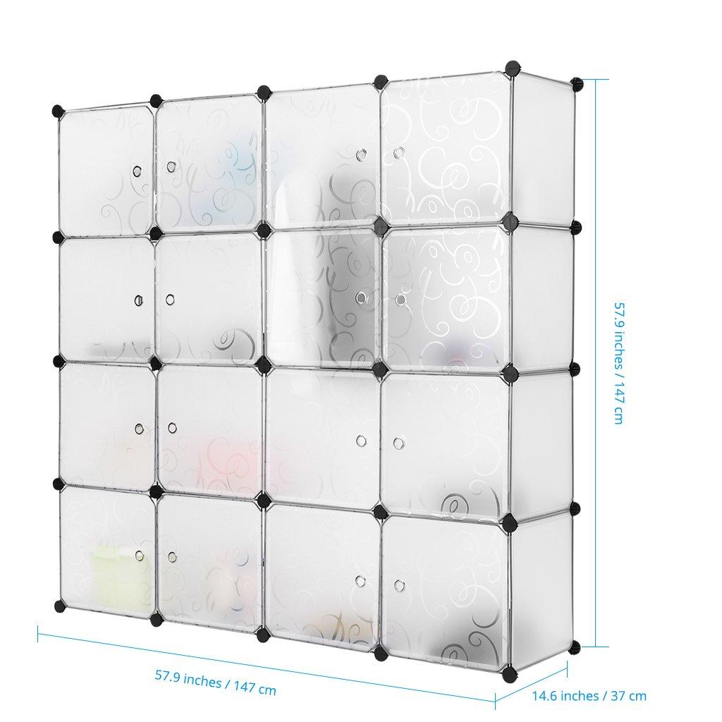 Amazon.com: LANGRIA 16 Cubby Shelving Closet System Cube Organizer Plastic  Storage Cubes Drawer Unit, DIY Modular Bookcase Cabinet For Clothes, Shoes,  ...