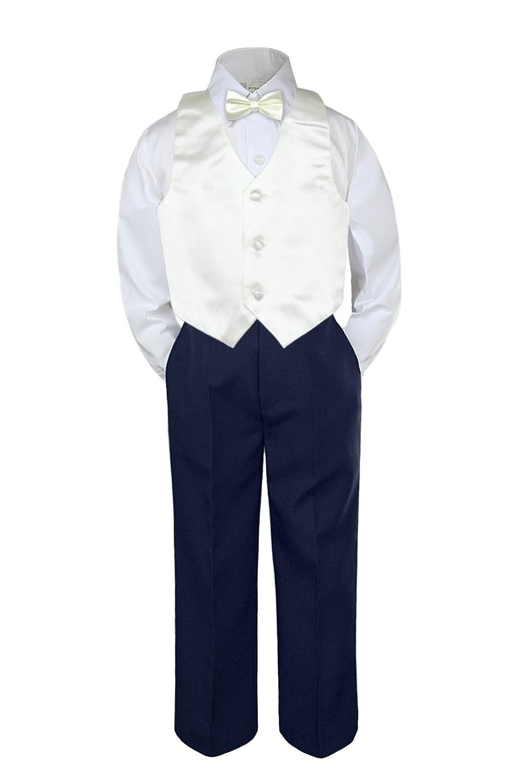 Leadertux 4pc Formal Little Boy Green Teal Vest Bow Tie Set White Pants Suit S-7 4T
