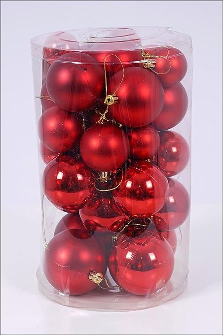 Christbaumkugeln 30er Set - Weihnachtskugeln in 4 verschiedenen Größen - Material: Kunststoff (rot)