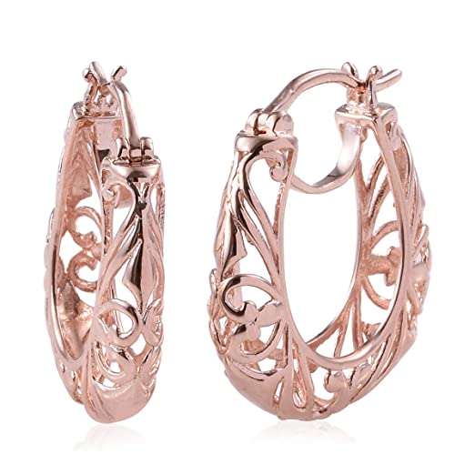 e152c8ebf ION Plated 14K Rose Gold Openwork Basket Filigree Round Hoops Hoop Earrings