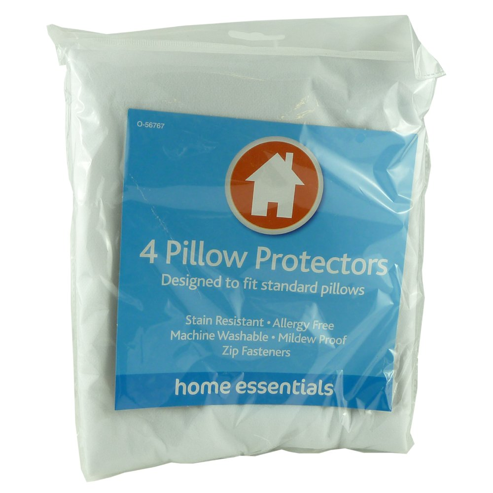 Home Essential 4 Pillow Protectors - Stain Resistant - Allergy Free Value 4 Money