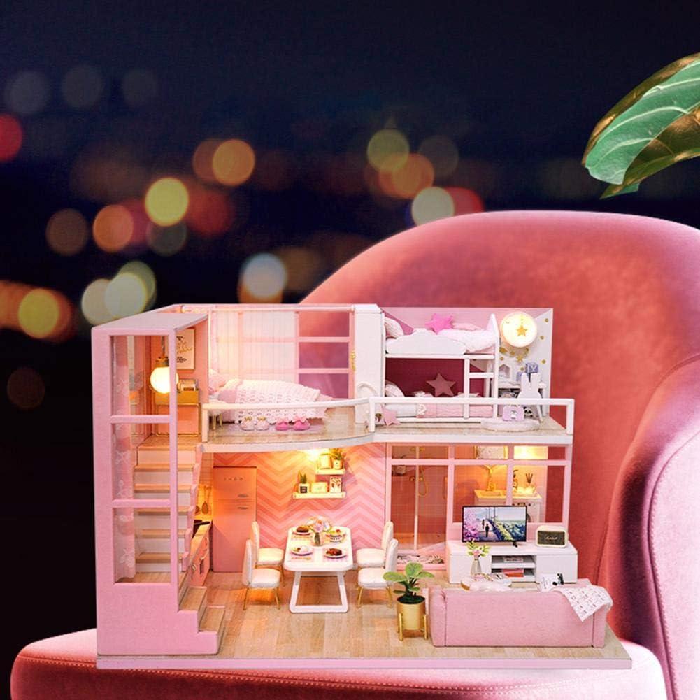 Wooden Loft Doll House Model Kits DIY Handmade Miniature Dollhouse Toy Gift VGEBY DIY House Model Toy