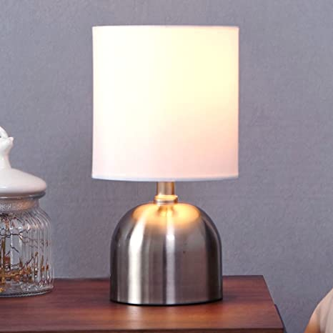 Popilion modern brushed nickel finish metal small mini bedside table popilion modern brushed nickel finish metal small mini bedside table lamp desk lamp with white watchthetrailerfo