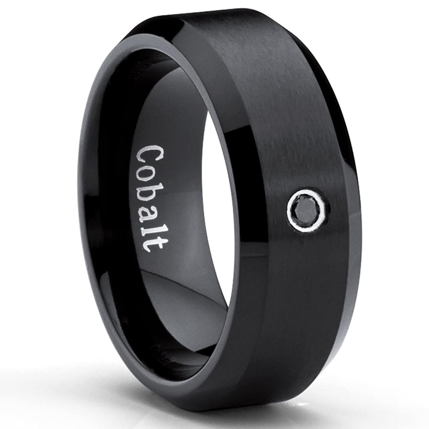 black cobalt ring mens wedding band with 004 real black diamond 8mmamazoncom - Mens Wedding Rings Black