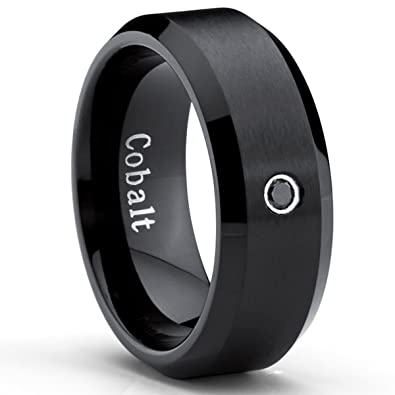 Genial Black Cobalt Ring Menu0027s Wedding Band With 0.04 Real Black Diamond 8MM, ...