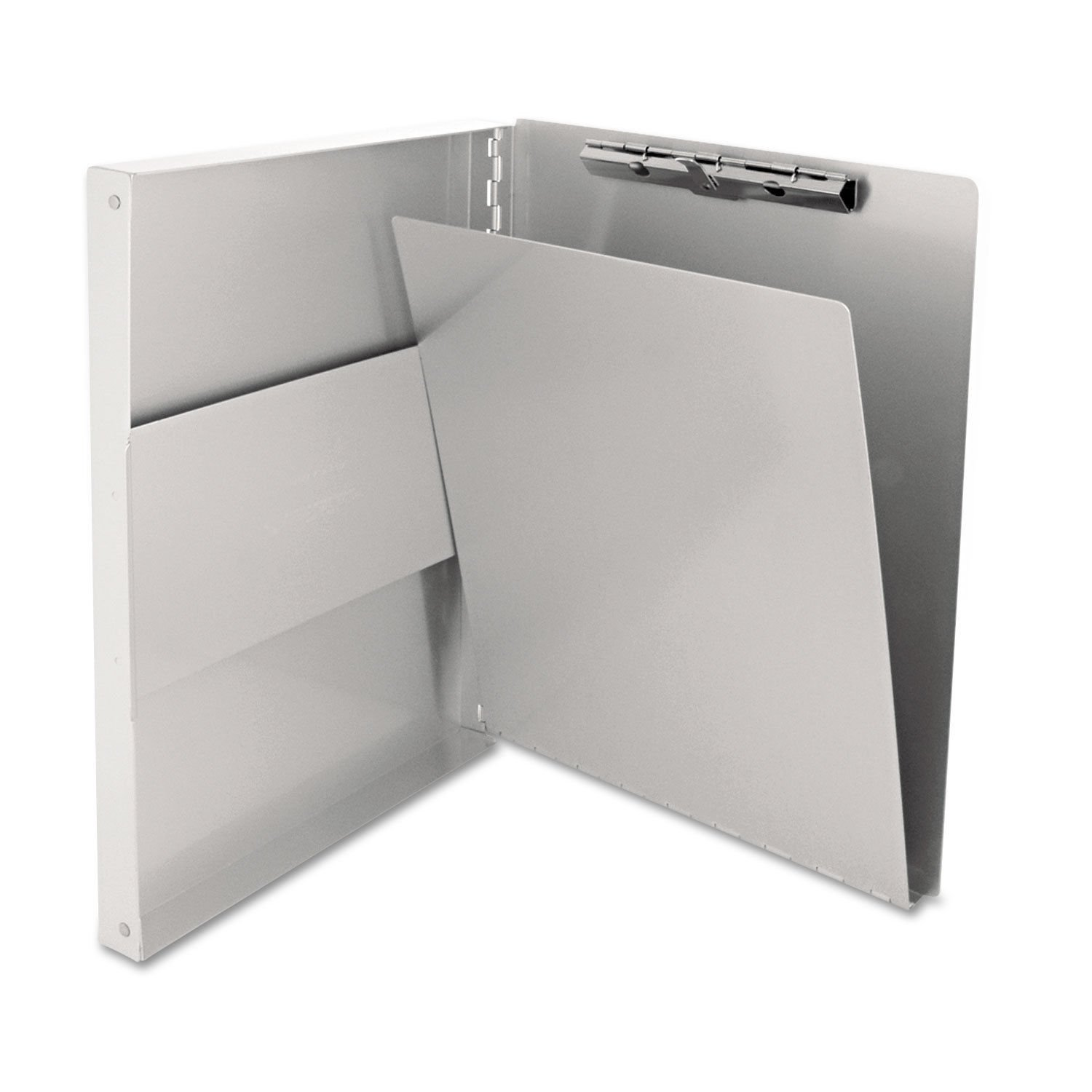 Recycled Aluminum Side-Open Forms Holder Notebook Folder Sheets Compact Box Paper Notes Documents 1/2'' Clip 8 1/2'' x 12''